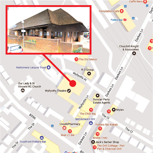Map showing the location of Wyllyotts Theatre in Potters Bar, where we perform our pantomimes and May musical shows