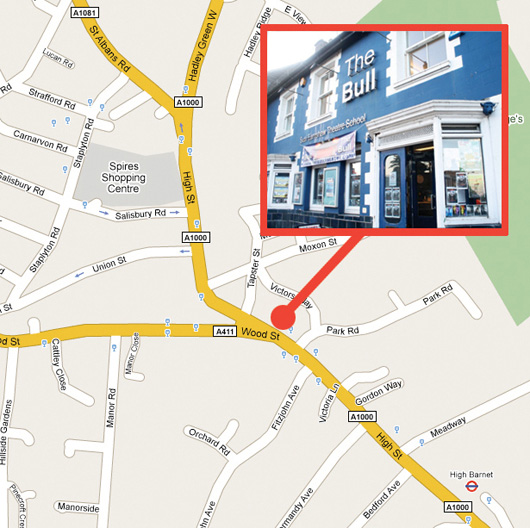 Map showing the location of The Bull in Barnet, where we perform our May musical shows